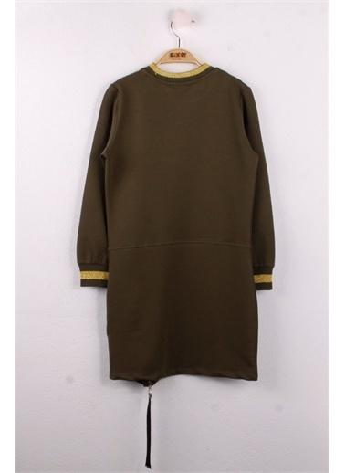 Toontoy Toontoy Kız Çocuk Elbise Empty Baskılı K-13 Haki